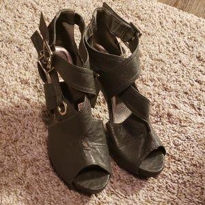 Gray Strappy Heels